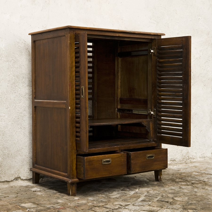 tv cabinet meuble tele vintige with shutters sold glossary depot. Black Bedroom Furniture Sets. Home Design Ideas