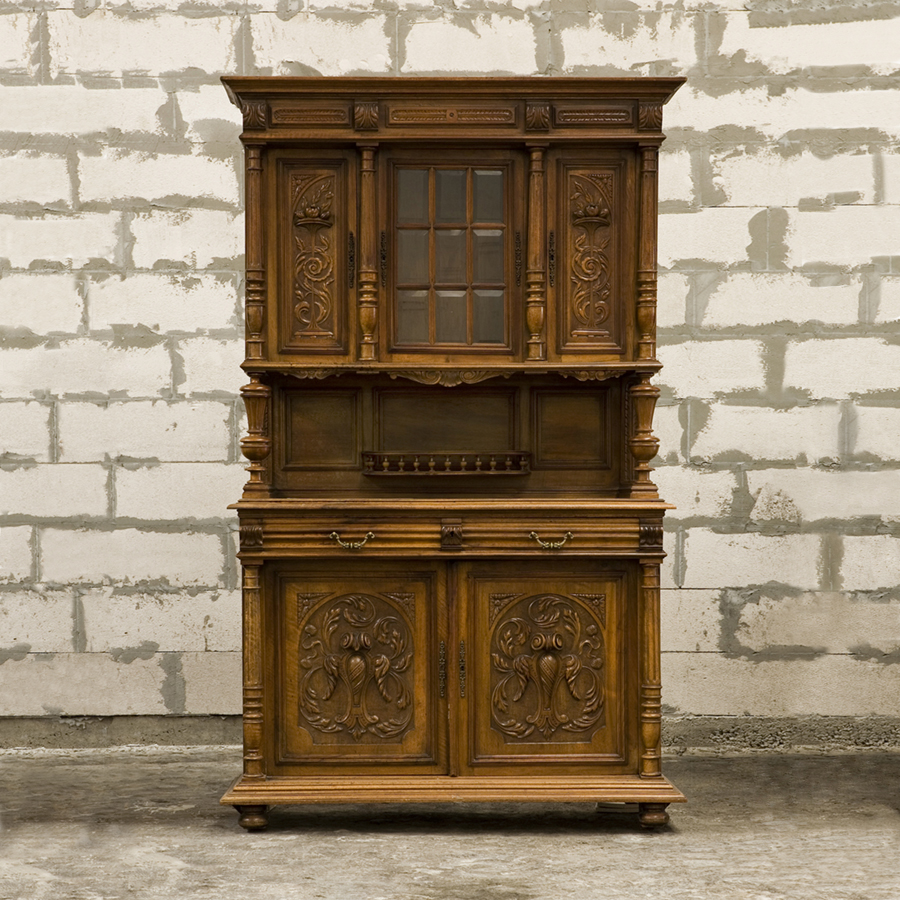 antique cabinet buffet style henri ii with floral depictions