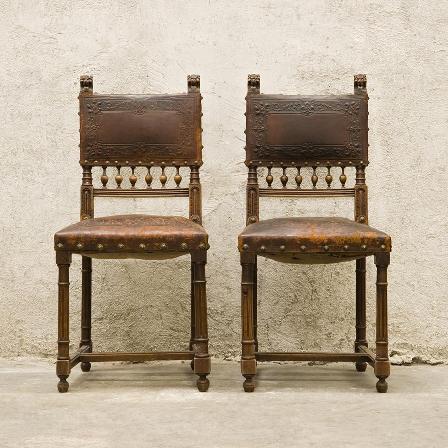 Quelque chose de nouveau assez Ancient leather chairs, Henri II style SOLD | Glossary Depot @CA_65