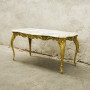 Gilt metal table with marble