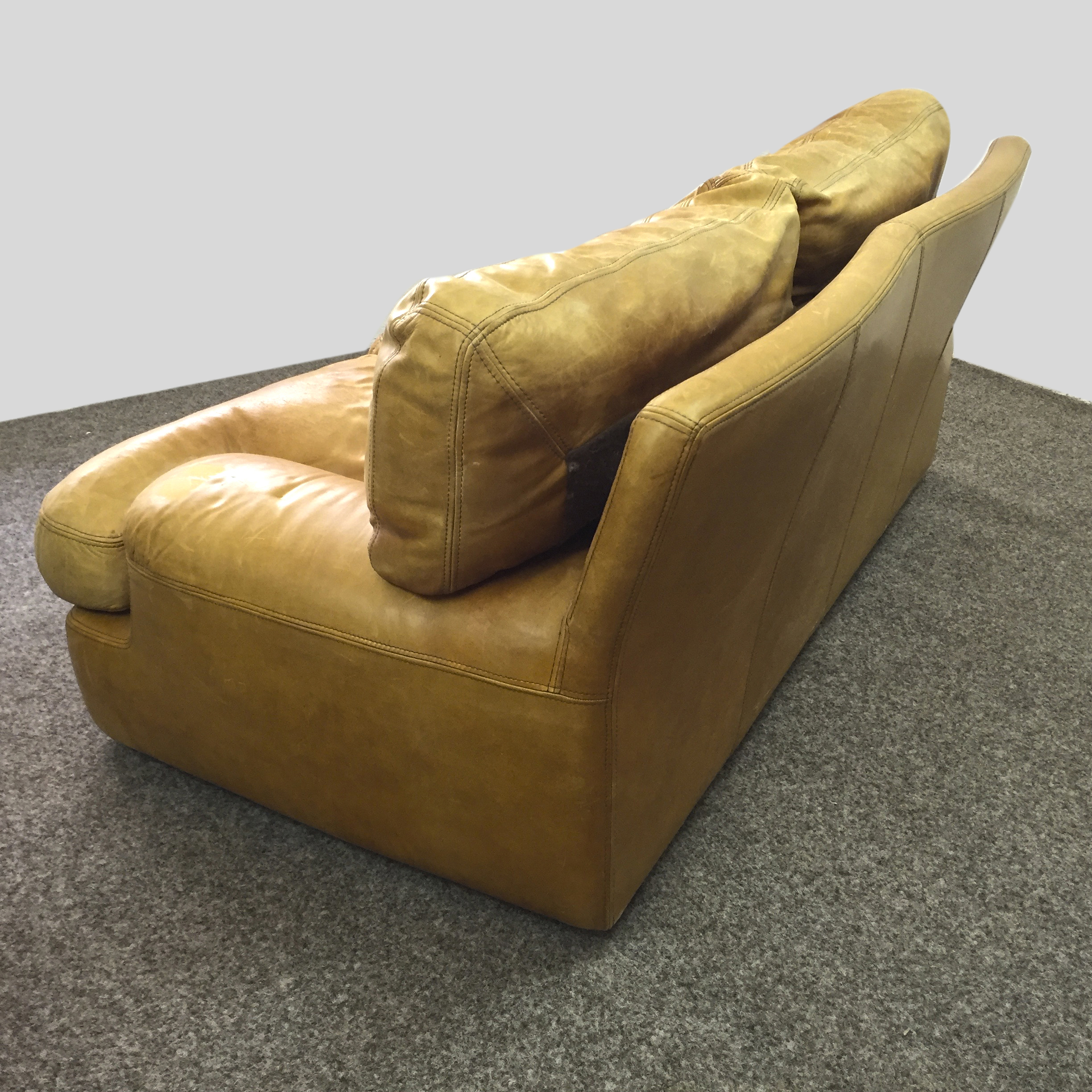 French vintage leather sofa feather seats and backrests